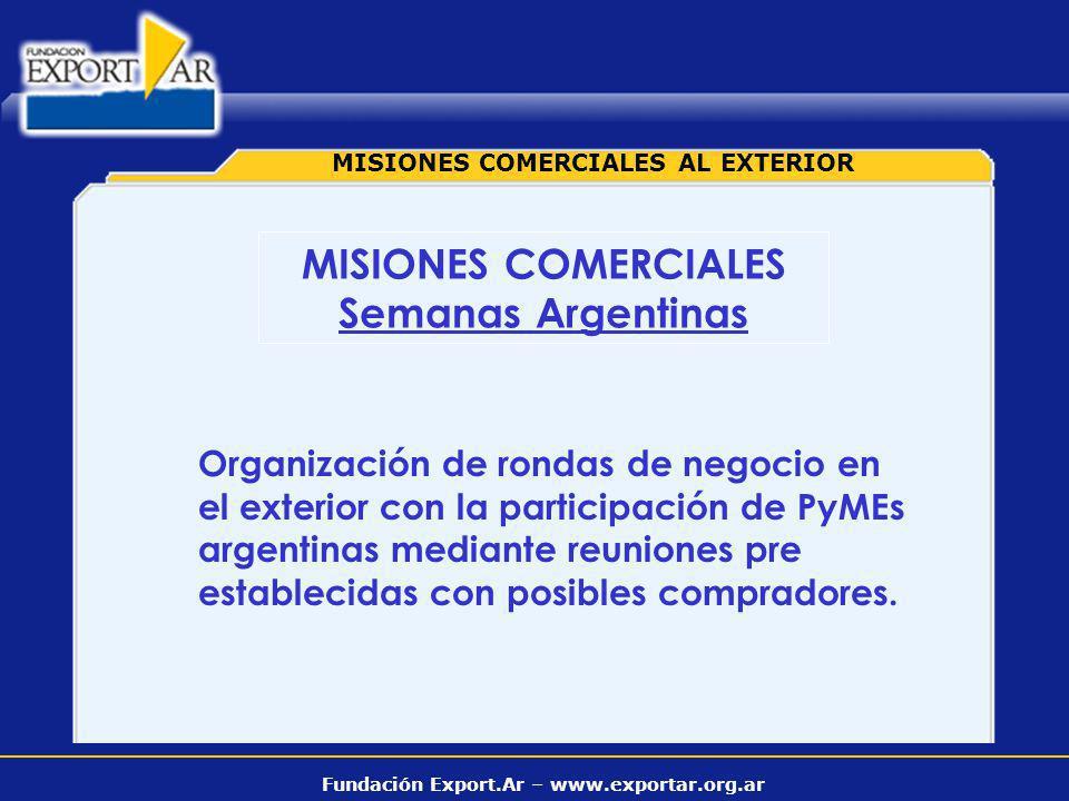 Fundación Export.Ar – www.exportar.org.ar MISIONES COMERCIALES AL EXTERIOR Organización de rondas de negocio en el exterior con la participación de Py