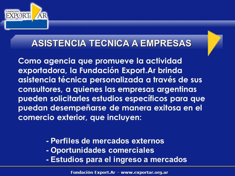 Fundación Export.Ar – www.exportar.org.ar ASISTENCIA TECNICA A EMPRESAS Como agencia que promueve la actividad exportadora, la Fundación Export.Ar bri