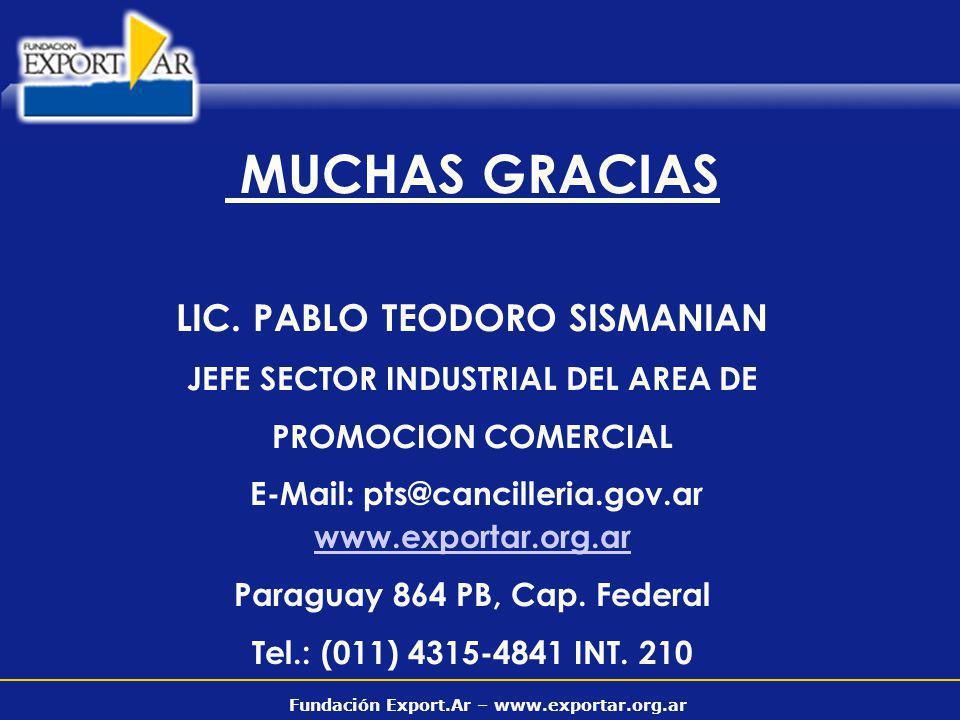 Fundación Export.Ar – www.exportar.org.ar MUCHAS GRACIAS LIC. PABLO TEODORO SISMANIAN JEFE SECTOR INDUSTRIAL DEL AREA DE PROMOCION COMERCIAL E-Mail: p