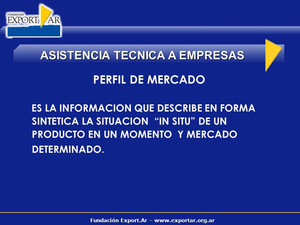 Fundación Export.Ar – www.exportar.org.ar ASISTENCIA TECNICA A EMPRESAS PERFIL DE MERCADO ES LA INFORMACION QUE DESCRIBE EN FORMA SINTETICA LA SITUACI