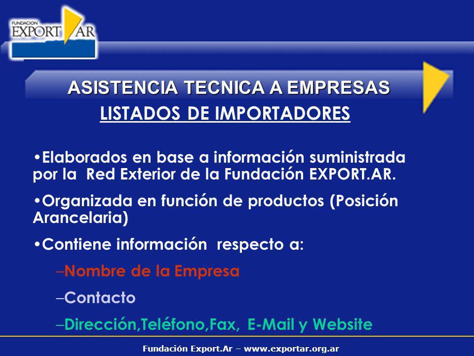 Fundación Export.Ar – www.exportar.org.ar ASISTENCIA TECNICA A EMPRESAS LISTADOS DE IMPORTADORES Elaborados en base a información suministrada por la Red Exterior de la Fundación EXPORT.AR.