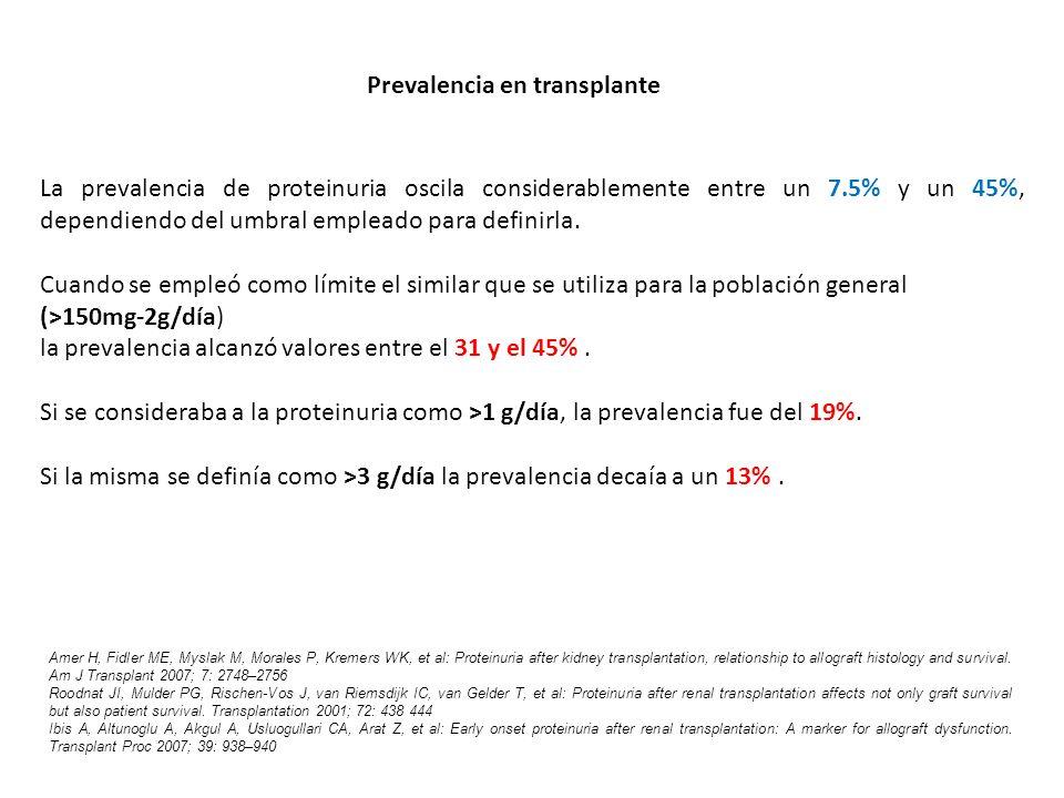 La prevalencia de proteinuria oscila considerablemente entre un 7.5% y un 45%, dependiendo del umbral empleado para definirla. Cuando se empleó como l