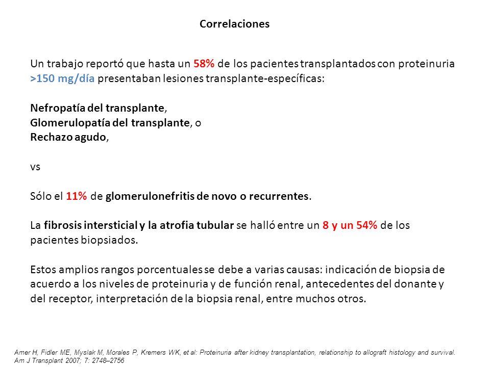 Un trabajo reportó que hasta un 58% de los pacientes transplantados con proteinuria >150 mg/día presentaban lesiones transplante-específicas: Nefropat