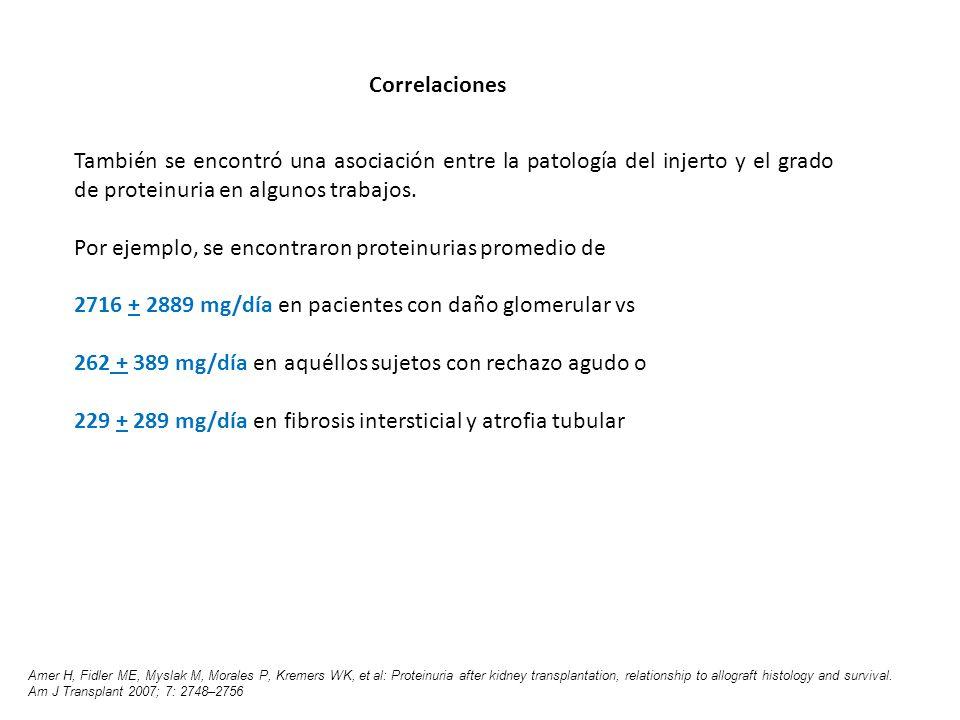 También se encontró una asociación entre la patología del injerto y el grado de proteinuria en algunos trabajos. Por ejemplo, se encontraron proteinur