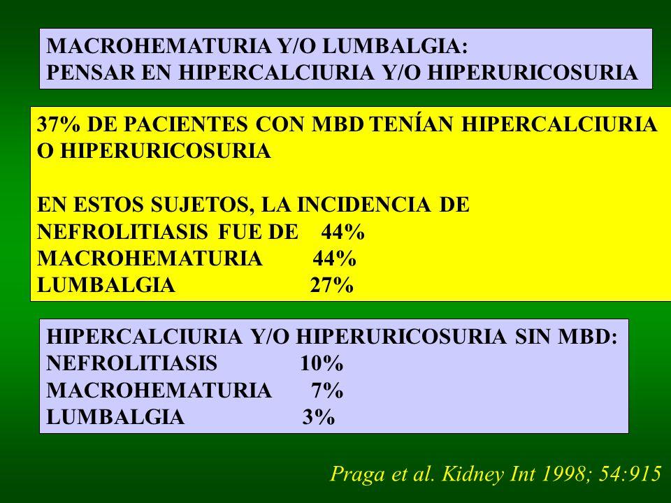 MACROHEMATURIA Y/O LUMBALGIA: PENSAR EN HIPERCALCIURIA Y/O HIPERURICOSURIA 37% DE PACIENTES CON MBD TENÍAN HIPERCALCIURIA O HIPERURICOSURIA EN ESTOS SUJETOS, LA INCIDENCIA DE NEFROLITIASIS FUE DE 44% MACROHEMATURIA 44% LUMBALGIA 27% HIPERCALCIURIA Y/O HIPERURICOSURIA SIN MBD: NEFROLITIASIS 10% MACROHEMATURIA 7% LUMBALGIA 3% Praga et al.