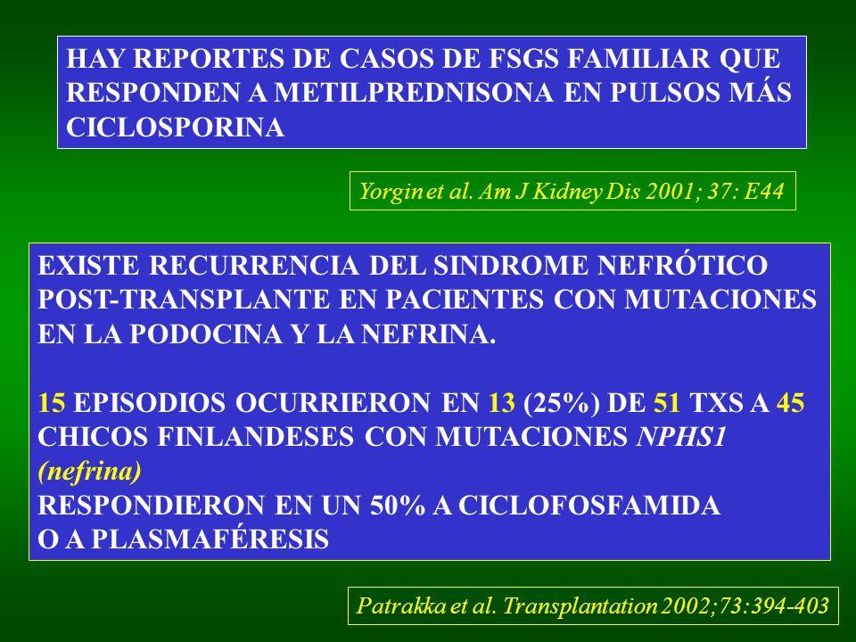 HAY REPORTES DE CASOS DE FSGS FAMILIAR QUE RESPONDEN A METILPREDNISONA EN PULSOS MÁS CICLOSPORINA Yorgin et al. Am J Kidney Dis 2001; 37: E44 EXISTE R