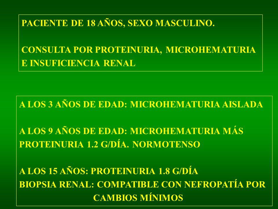 PACIENTE DE 18 AÑOS, SEXO MASCULINO. CONSULTA POR PROTEINURIA, MICROHEMATURIA E INSUFICIENCIA RENAL A LOS 3 AÑOS DE EDAD: MICROHEMATURIA AISLADA A LOS
