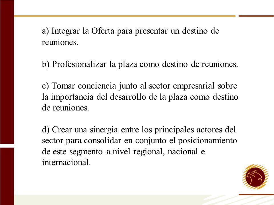 a) Integrar la Oferta para presentar un destino de reuniones. b) Profesionalizar la plaza como destino de reuniones. c) Tomar conciencia junto al sect