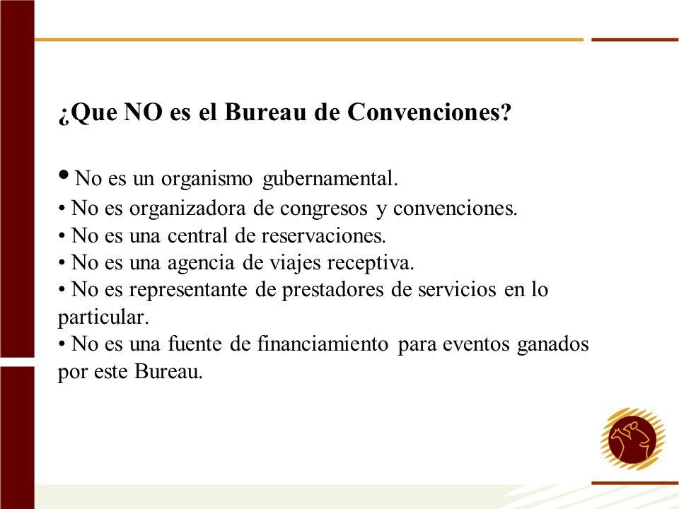 ¿ Que NO es el Bureau de Convenciones ? No es un organismo gubernamental. No es organizadora de congresos y convenciones. No es una central de reserva
