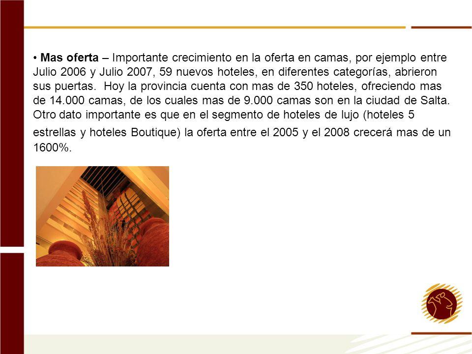 Mas oferta – Importante crecimiento en la oferta en camas, por ejemplo entre Julio 2006 y Julio 2007, 59 nuevos hoteles, en diferentes categorías, abr
