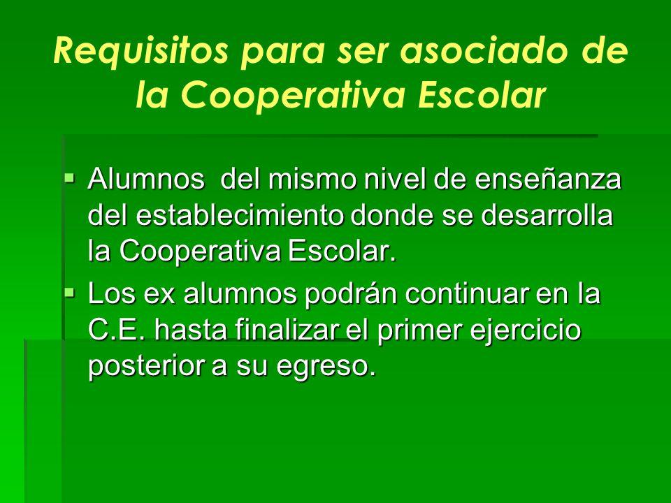 Requisitos para ser asociado de la Cooperativa Escolar Alumnos del mismo nivel de enseñanza del establecimiento donde se desarrolla la Cooperativa Esc