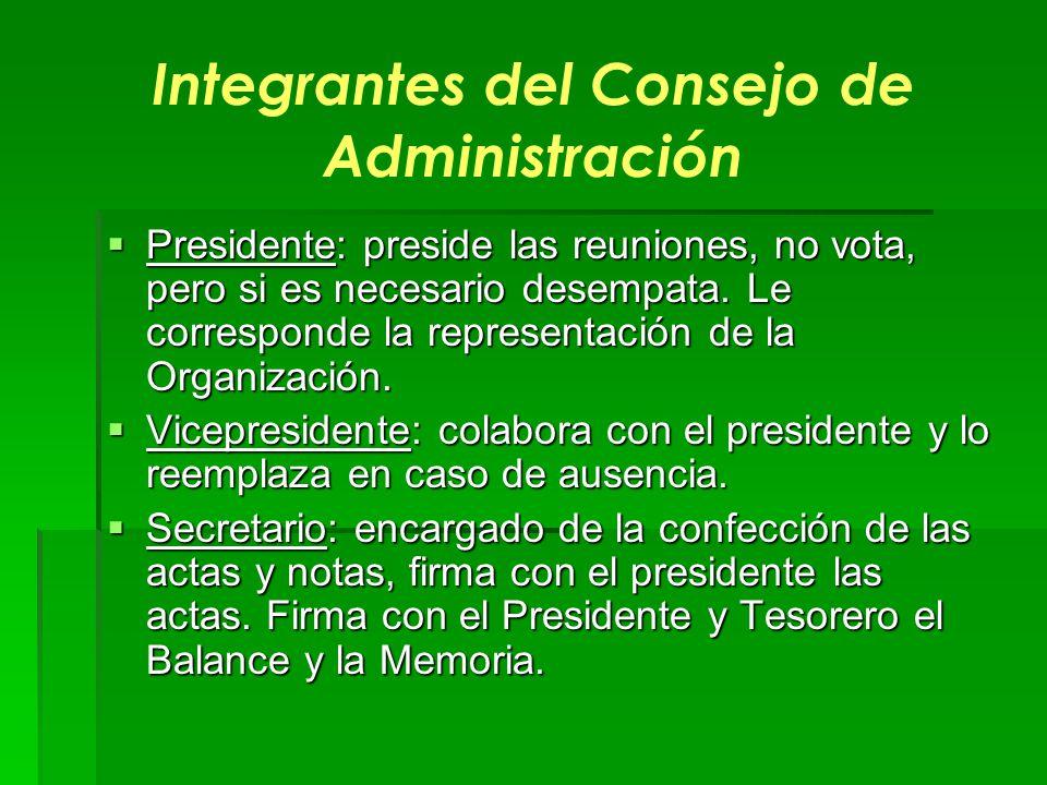 Integrantes del Consejo de Administración Presidente: preside las reuniones, no vota, pero si es necesario desempata. Le corresponde la representación
