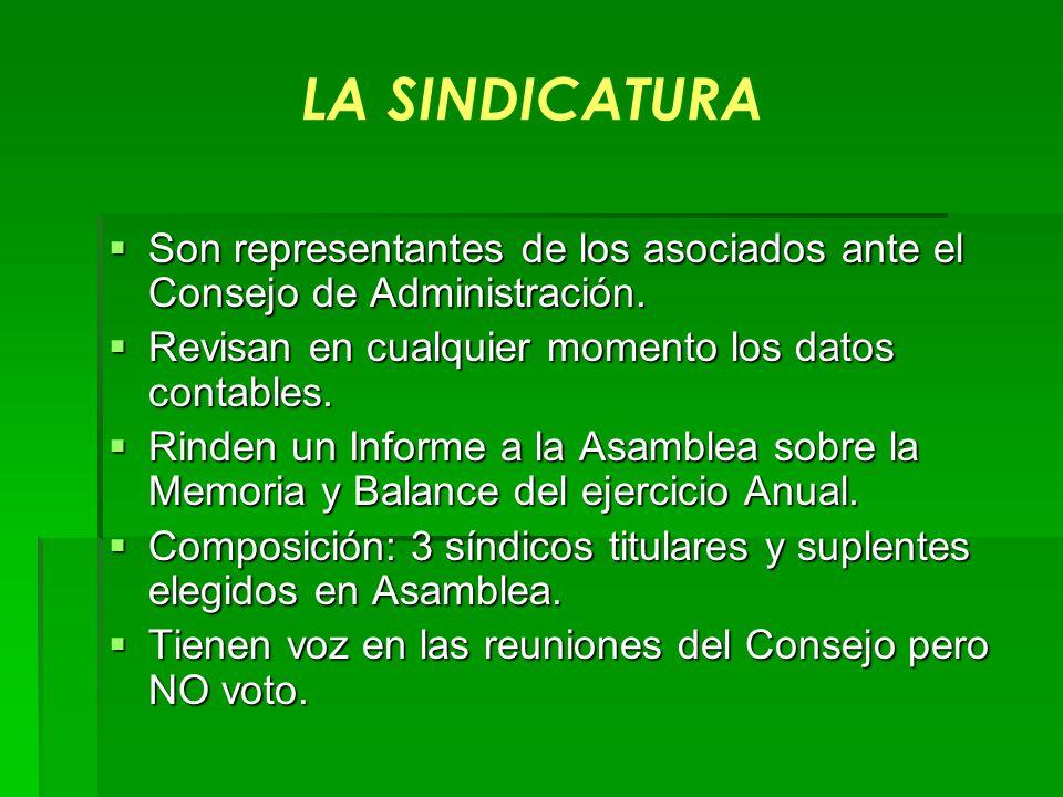LA SINDICATURA Son representantes de los asociados ante el Consejo de Administración. Son representantes de los asociados ante el Consejo de Administr