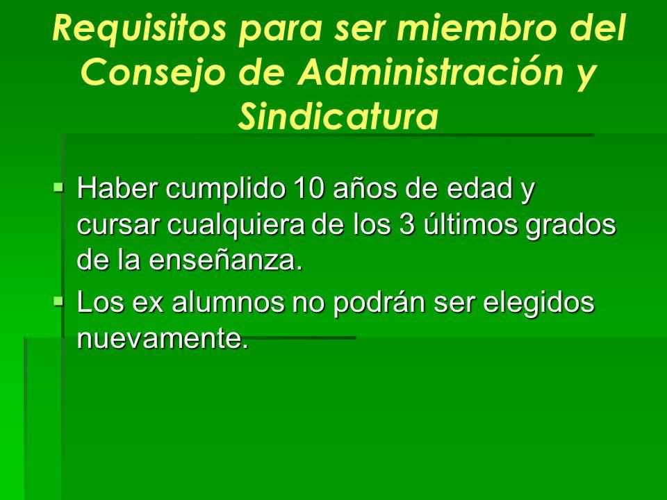 Requisitos para ser miembro del Consejo de Administración y Sindicatura Haber cumplido 10 años de edad y cursar cualquiera de los 3 últimos grados de