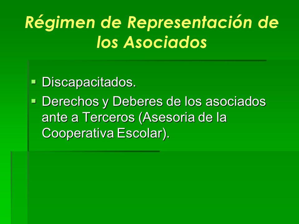 Régimen de Representación de los Asociados Discapacitados. Discapacitados. Derechos y Deberes de los asociados ante a Terceros (Asesoria de la Coopera