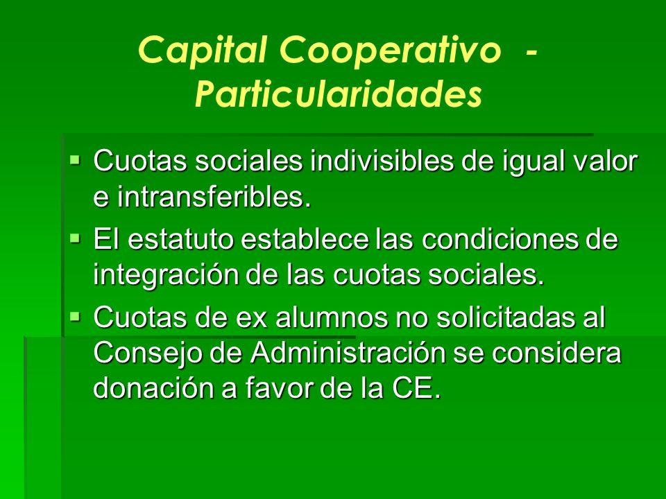 Capital Cooperativo - Particularidades Cuotas sociales indivisibles de igual valor e intransferibles. Cuotas sociales indivisibles de igual valor e in