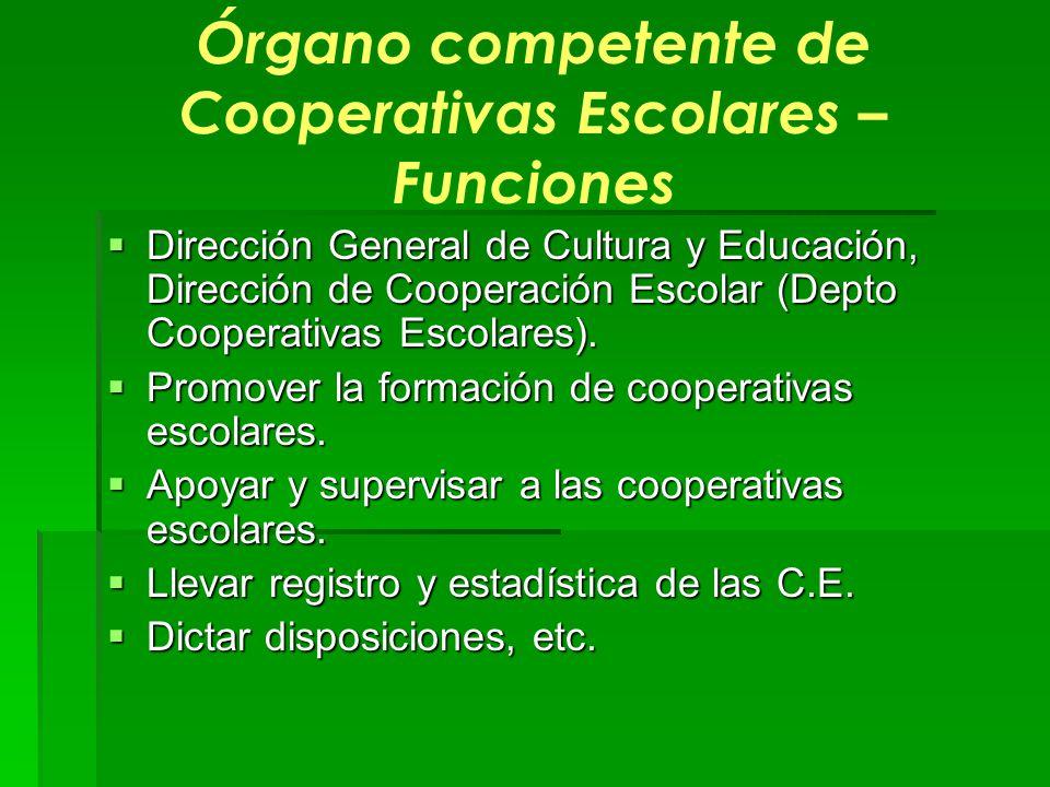 Órgano competente de Cooperativas Escolares – Funciones Dirección General de Cultura y Educación, Dirección de Cooperación Escolar (Depto Cooperativas