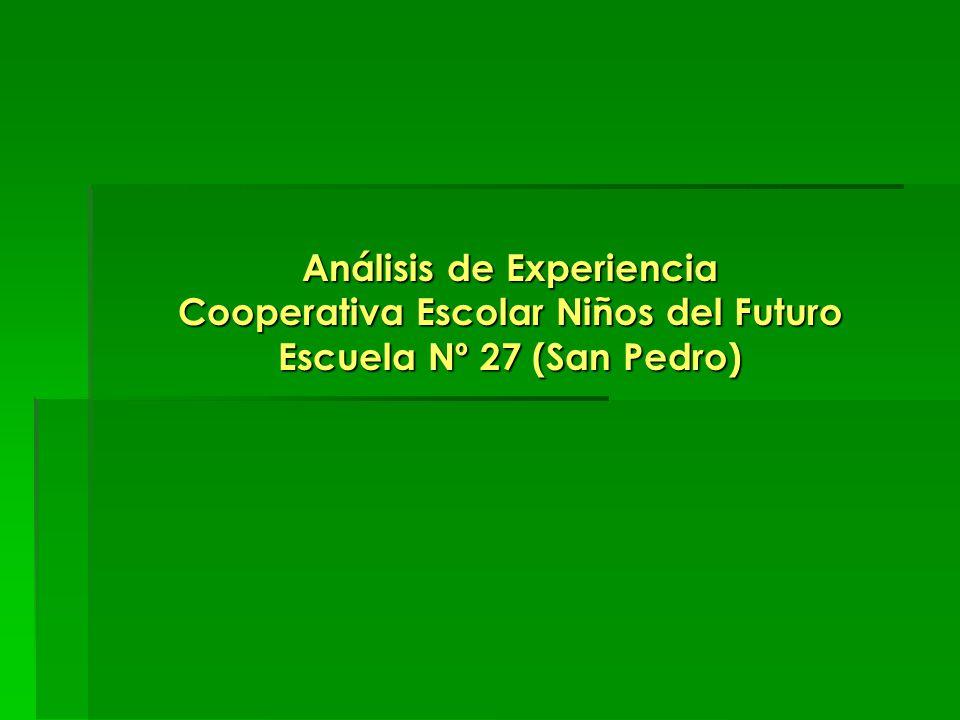 Análisis de Experiencia Cooperativa Escolar Niños del Futuro Escuela Nº 27 (San Pedro)
