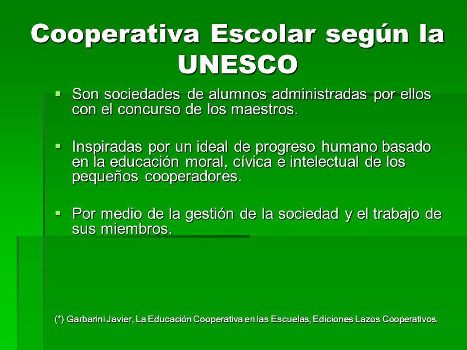Cooperativa Escolar según la UNESCO Son sociedades de alumnos administradas por ellos con el concurso de los maestros. Son sociedades de alumnos admin