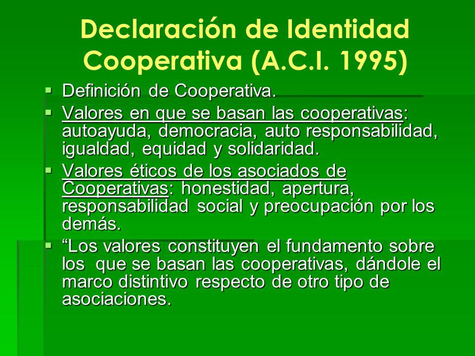 Declaración de Identidad Cooperativa (A.C.I. 1995) Definición de Cooperativa. Definición de Cooperativa. Valores en que se basan las cooperativas: aut