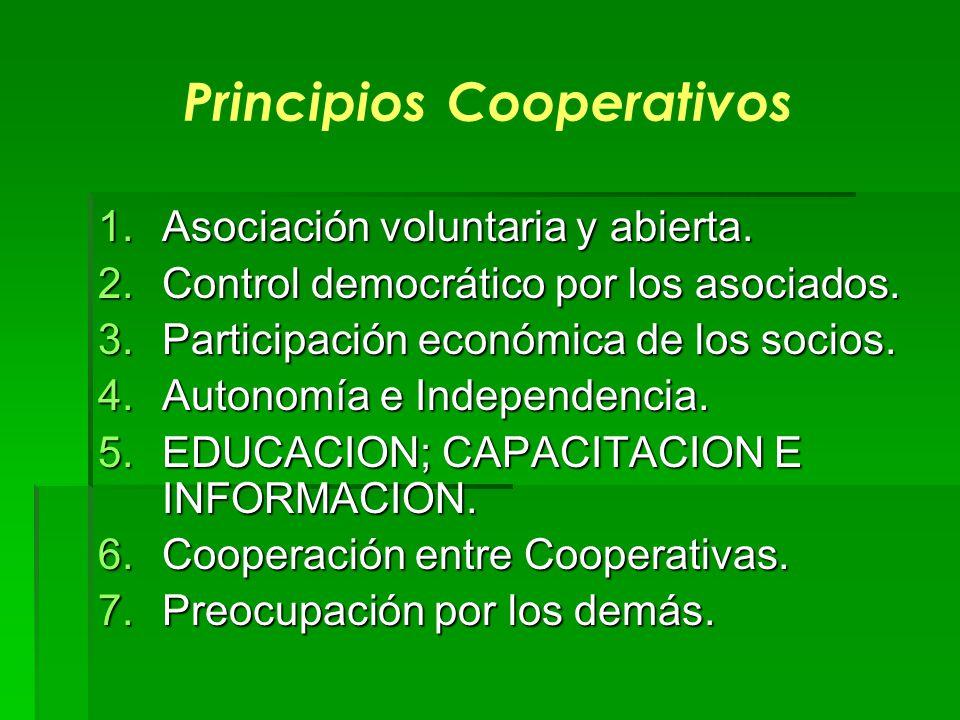 Principios Cooperativos 1.Asociación voluntaria y abierta. 2.Control democrático por los asociados. 3.Participación económica de los socios. 4.Autonom