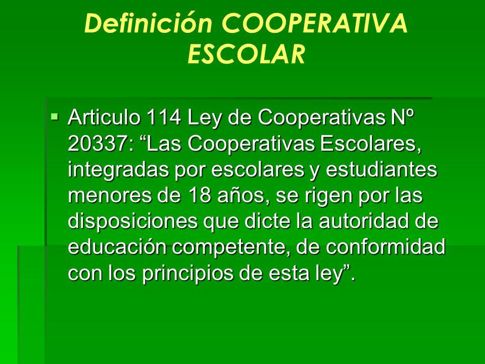 Definición COOPERATIVA ESCOLAR Articulo 114 Ley de Cooperativas Nº 20337: Las Cooperativas Escolares, integradas por escolares y estudiantes menores d