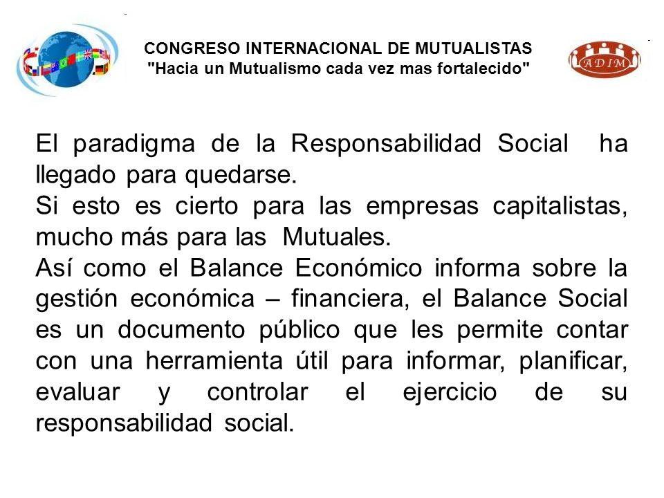 CONGRESO INTERNACIONAL DE MUTUALISTAS Hacia un Mutualismo cada vez mas fortalecido El paradigma de la Responsabilidad Social ha llegado para quedarse.