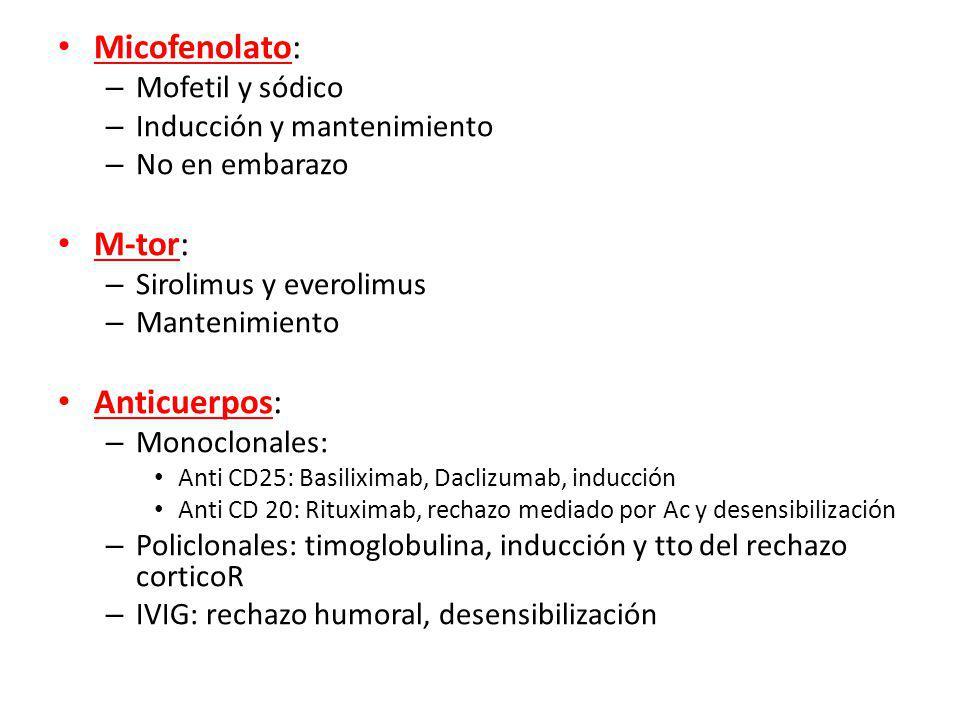 Micofenolato: – Mofetil y sódico – Inducción y mantenimiento – No en embarazo M-tor: – Sirolimus y everolimus – Mantenimiento Anticuerpos: – Monoclonales: Anti CD25: Basiliximab, Daclizumab, inducción Anti CD 20: Rituximab, rechazo mediado por Ac y desensibilización – Policlonales: timoglobulina, inducción y tto del rechazo corticoR – IVIG: rechazo humoral, desensibilización