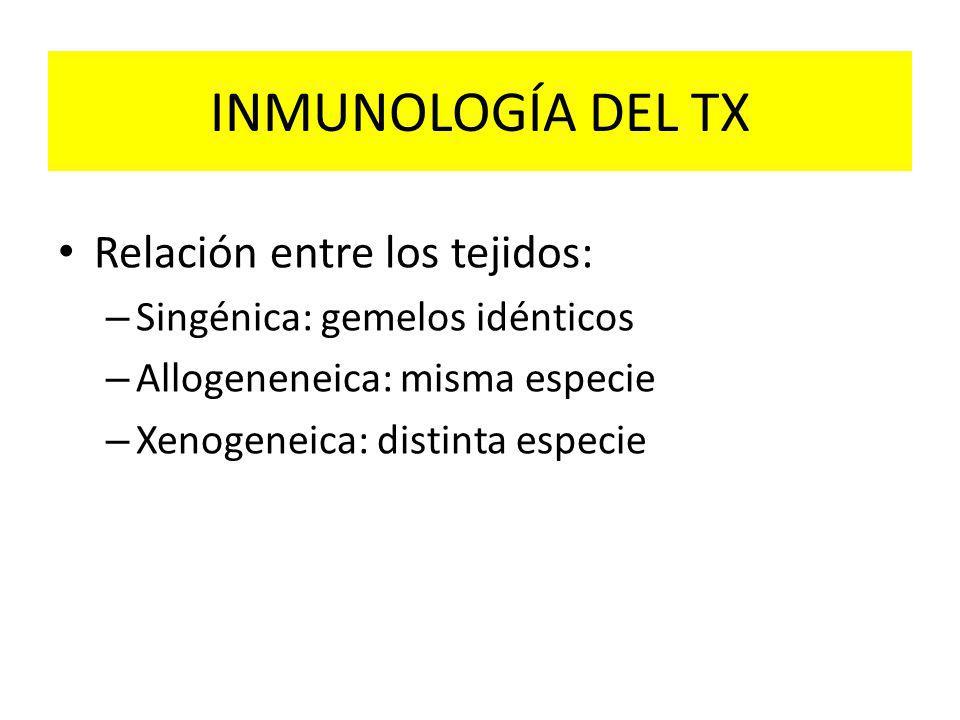 INMUNOLOGÍA DEL TX Relación entre los tejidos: – Singénica: gemelos idénticos – Allogeneneica: misma especie – Xenogeneica: distinta especie