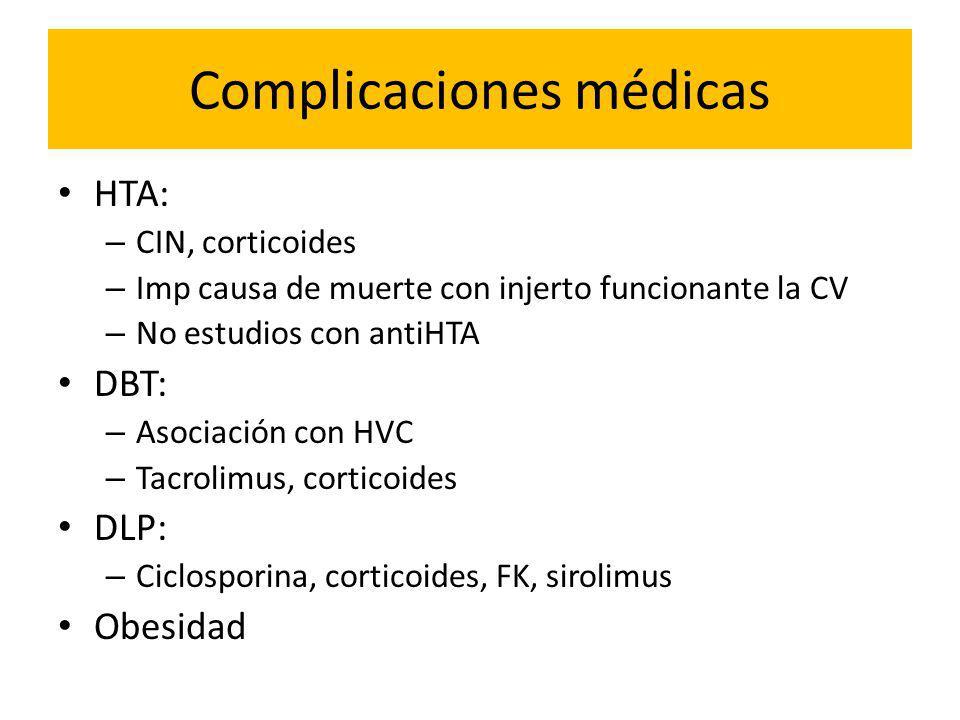 Complicaciones médicas HTA: – CIN, corticoides – Imp causa de muerte con injerto funcionante la CV – No estudios con antiHTA DBT: – Asociación con HVC – Tacrolimus, corticoides DLP: – Ciclosporina, corticoides, FK, sirolimus Obesidad
