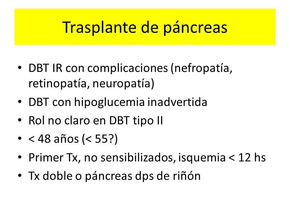 Trasplante de páncreas DBT IR con complicaciones (nefropatía, retinopatía, neuropatía) DBT con hipoglucemia inadvertida Rol no claro en DBT tipo II < 48 años (< 55?) Primer Tx, no sensibilizados, isquemia < 12 hs Tx doble o páncreas dps de riñón