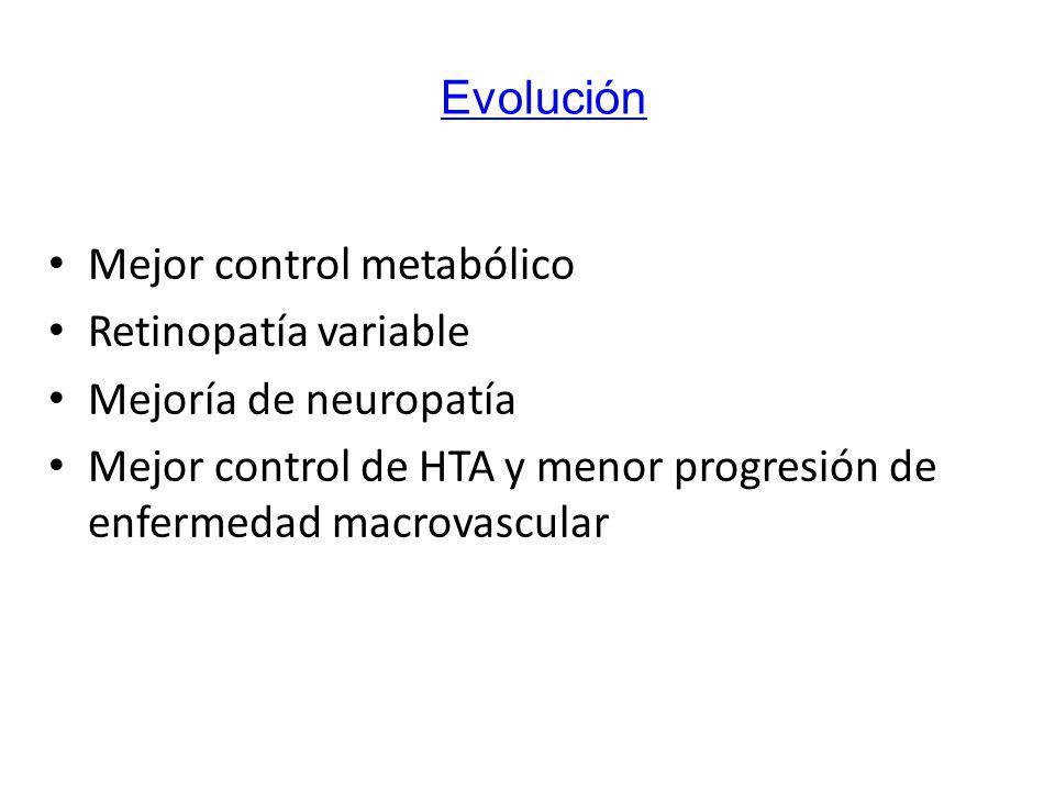 Mejor control metabólico Retinopatía variable Mejoría de neuropatía Mejor control de HTA y menor progresión de enfermedad macrovascular Evolución