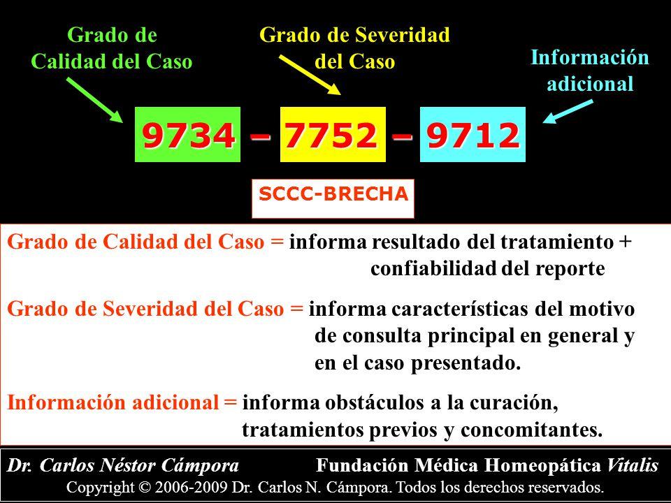 9734 – 7752 – 9712 Grado de Calidad del Caso Grado de Severidad del Caso Información adicional Dr.