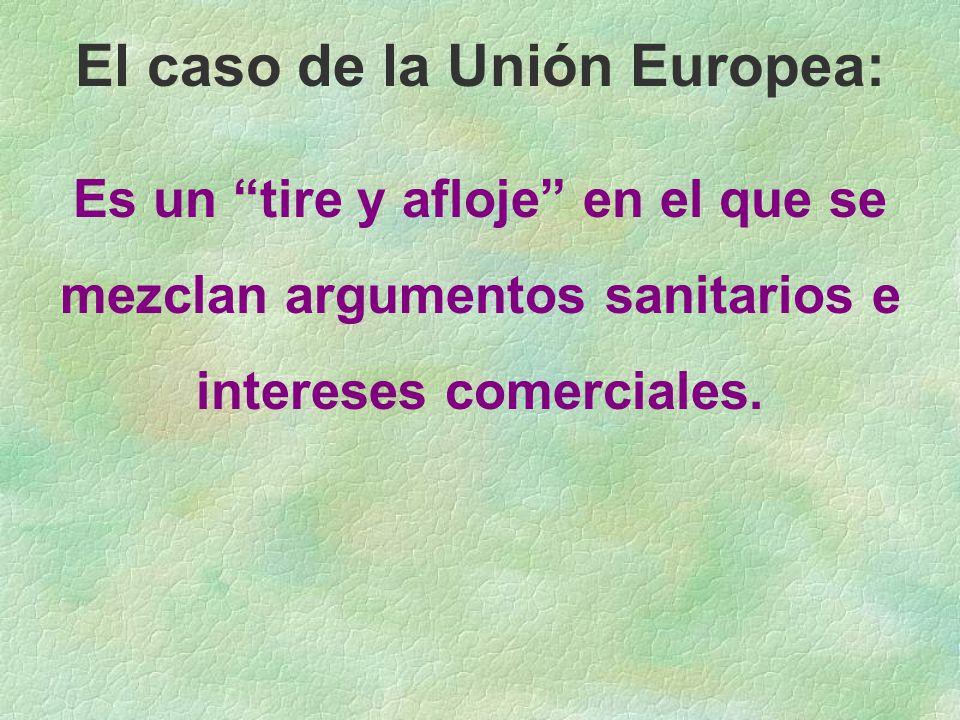 El caso de la Unión Europea: Es un tire y afloje en el que se mezclan argumentos sanitarios e intereses comerciales.