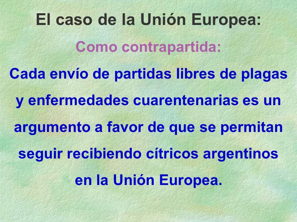 El caso de la Unión Europea: Como contrapartida: Cada envío de partidas libres de plagas y enfermedades cuarentenarias es un argumento a favor de que se permitan seguir recibiendo cítricos argentinos en la Unión Europea.