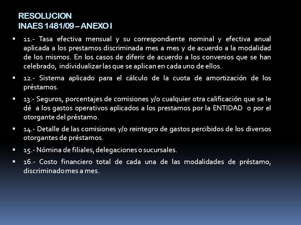 RESOLUCION INAES 1481/09 – ANEXO I 11.- Tasa efectiva mensual y su correspondiente nominal y efectiva anual aplicada a los prestamos discriminada mes a mes y de acuerdo a la modalidad de los mismos.