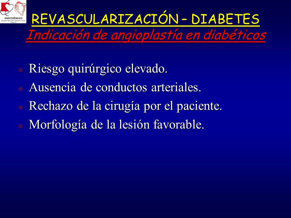 REVASCULARIZACIÓN – DIABETES Indicación de angioplastía en diabéticos Riesgo quirúrgico elevado.