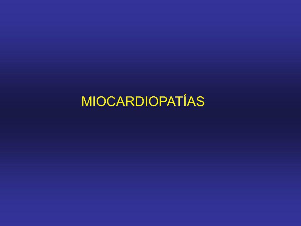 Definición de miocardiopatía: en una alteración miocárdica en la cuál el músculo cardiaco es estructural o funcionalmente anormal, en ausencia de enf.
