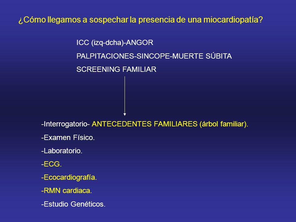 ¿Cómo llegamos a sospechar la presencia de una miocardiopatía? ICC (izq-dcha)-ANGOR PALPITACIONES-SINCOPE-MUERTE SÚBITA SCREENING FAMILIAR -Interrogat