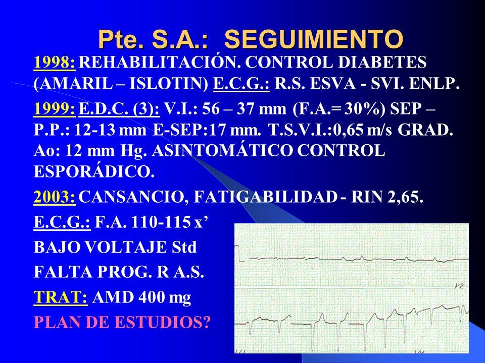 Pte. S.A.: SEGUIMIENTO 1998: REHABILITACIÓN. CONTROL DIABETES (AMARIL – ISLOTIN) E.C.G.: R.S. ESVA - SVI. ENLP. 1999: E.D.C. (3): V.I.: 56 – 37 mm (F.
