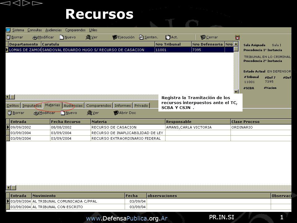 www.DefensaPublica.org.Ar PR.IN.SI1 Recursos Registra la Tramitación de los recursos interpuestos ante el TC, SCBA Y CSJN.