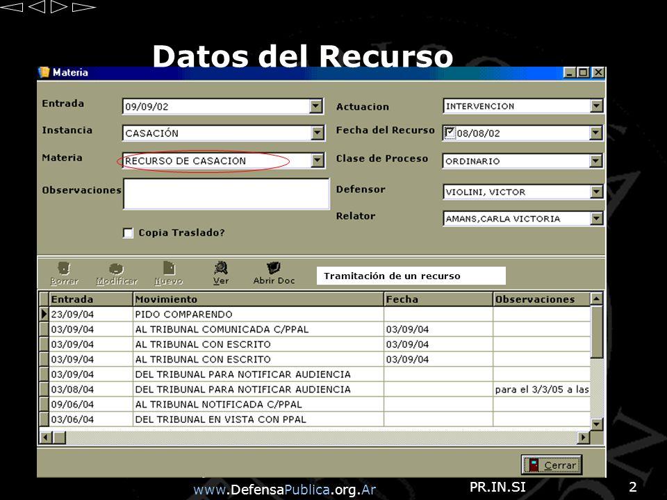 www.DefensaPublica.org.Ar PR.IN.SI2 Datos del Recurso Tramitación de un recurso