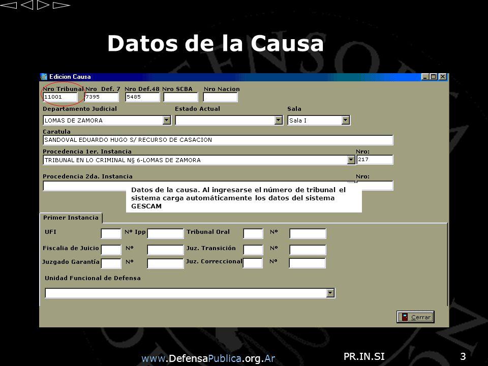 www.DefensaPublica.org.Ar PR.IN.SI3 Datos de la Causa Datos de la causa.