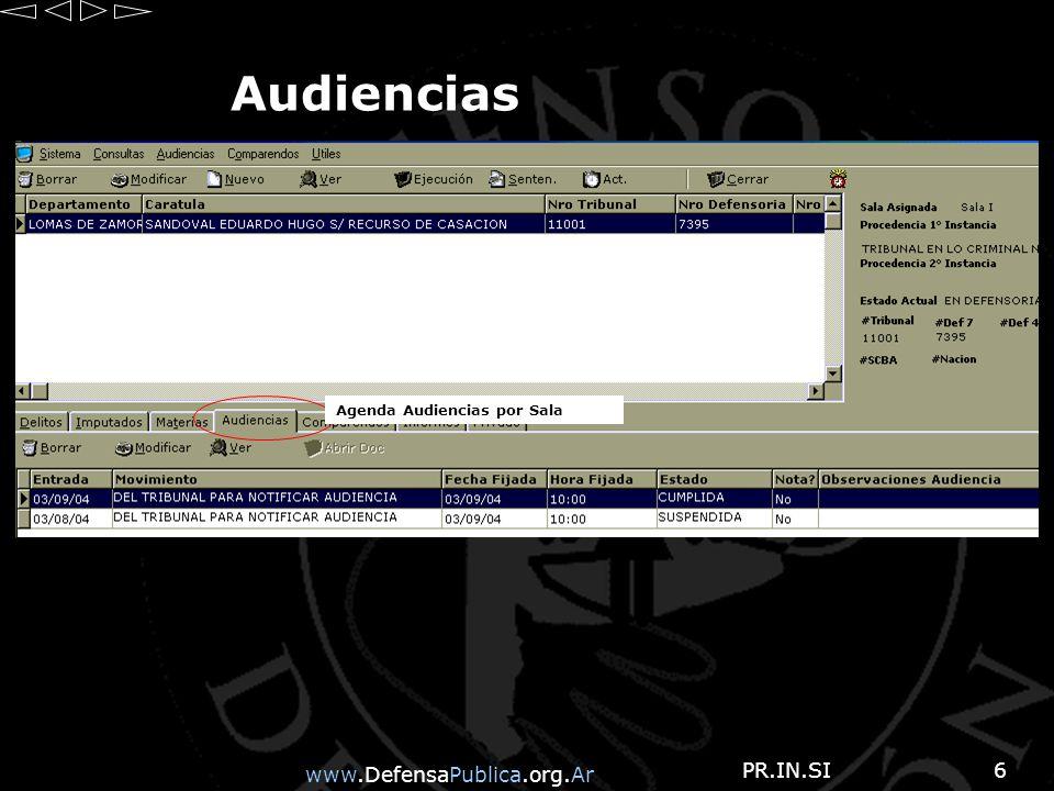 www.DefensaPublica.org.Ar PR.IN.SI27 Total de Comparendos Nos muestra listado de totales de COMPARENDOS por ESTADO, por Sala e Instancia.