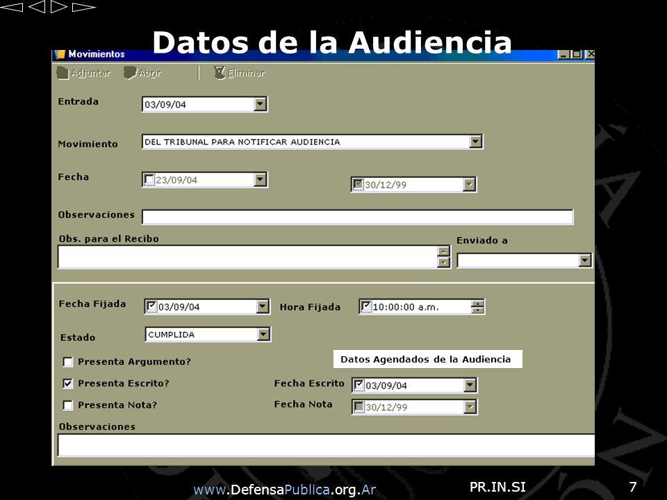 www.DefensaPublica.org.Ar PR.IN.SI18 Listado Estadística Resumida Nos muestra un listado de las SENTENCIAS de los recursos interpuestos ante el TC, por Departamento Judicial entre fechas.
