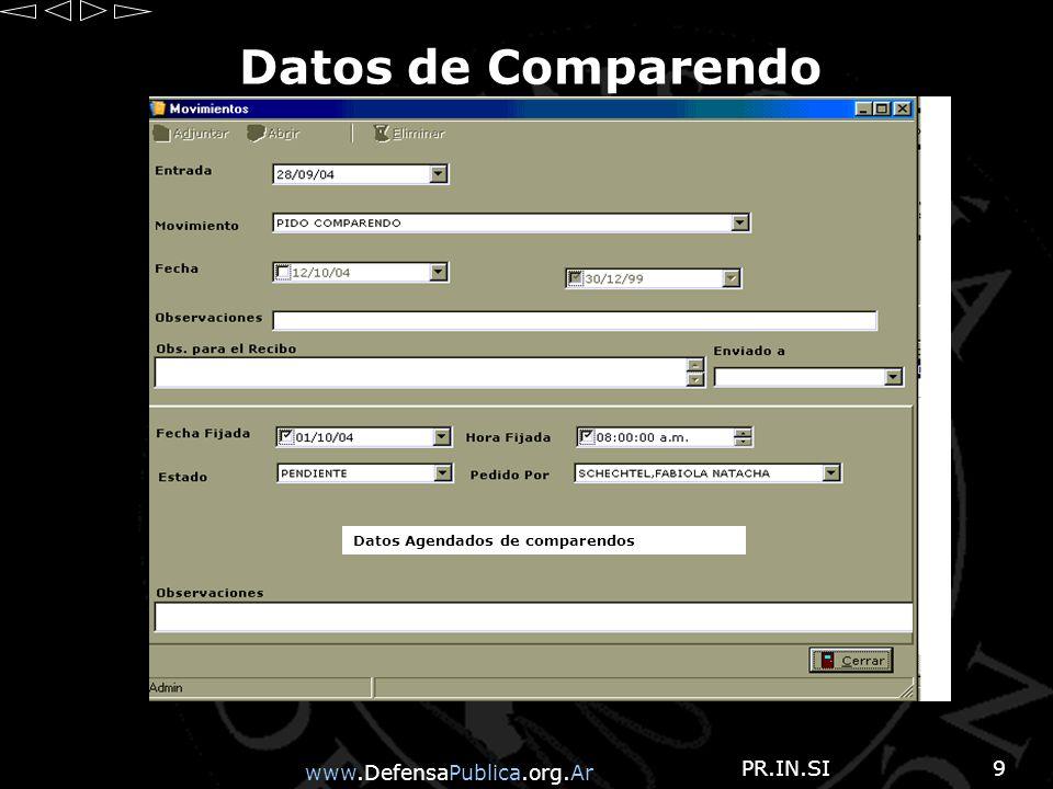 www.DefensaPublica.org.Ar PR.IN.SI9 Datos de Comparendo Datos Agendados de comparendos