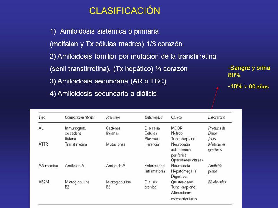 1)Amiloidosis sistémica o primaria (melfalan y Tx células madres) 1/3 corazón.