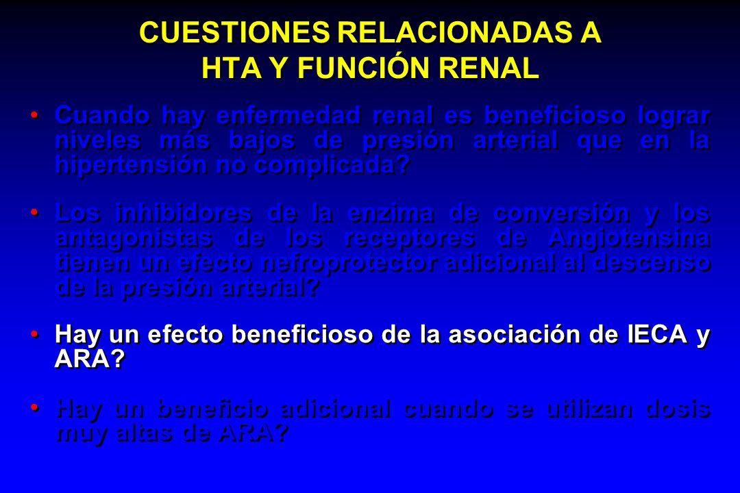CUESTIONES RELACIONADAS A HTA Y FUNCIÓN RENAL Cuando hay enfermedad renal es beneficioso lograr niveles más bajos de presión arterial que en la hipert