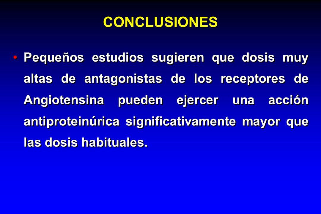 CONCLUSIONES Pequeños estudios sugieren que dosis muy altas de antagonistas de los receptores de Angiotensina pueden ejercer una acción antiproteinúri