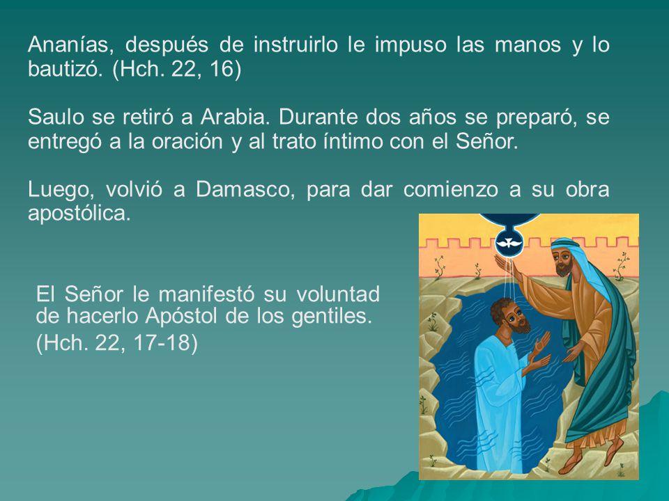 Ananías, después de instruirlo le impuso las manos y lo bautizó. (Hch. 22, 16) Saulo se retiró a Arabia. Durante dos años se preparó, se entregó a la
